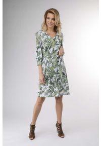 Zielona sukienka wizytowa Nommo w kwiaty, prosta