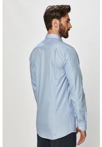 Niebieska koszula Hugo elegancka, długa, z długim rękawem, z klasycznym kołnierzykiem