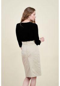Marie Zélie - Spódnica Leto bawełna z elastanem beż. Kolor: beżowy. Materiał: bawełna, elastan
