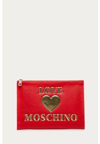 Czerwona kosmetyczka Love Moschino z aplikacjami