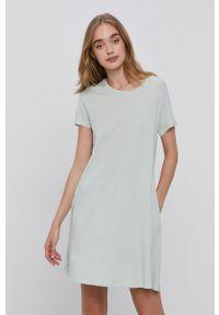 only - Only - Sukienka. Kolor: zielony. Materiał: bawełna, dzianina. Długość rękawa: krótki rękaw. Wzór: gładki. Typ sukienki: rozkloszowane