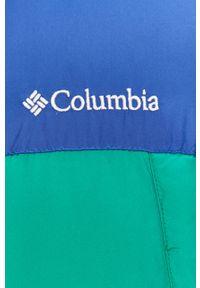 Zielona kamizelka columbia na co dzień, bez kaptura, casualowa, na zimę