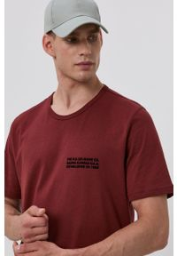 Lee - T-shirt bawełniany. Okazja: na co dzień. Kolor: brązowy. Materiał: bawełna. Wzór: nadruk. Styl: casual