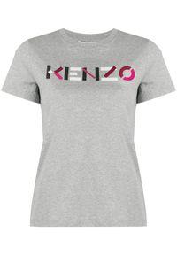 Szary t-shirt Kenzo w kolorowe wzory, klasyczny