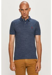 Niebieska koszulka polo Polo Ralph Lauren melanż, na co dzień, krótka, polo