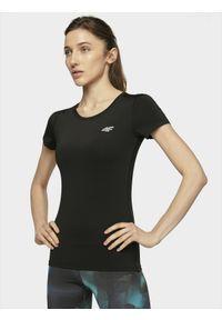 4f - Koszulka treningowa damska. Kolor: czarny. Materiał: skóra, dzianina. Wzór: gładki. Sport: fitness