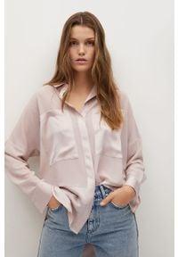 Różowa koszula mango casualowa, na co dzień, z długim rękawem