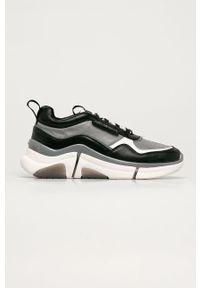 Szare sneakersy Karl Lagerfeld z okrągłym noskiem, z cholewką