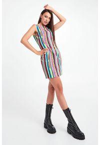 Versace Jeans Couture - SUKIENKA VERSACE JEANS COUTURE. Długość rękawa: bez rękawów. Wzór: napisy, kolorowy, paski. Typ sukienki: proste. Długość: mini