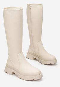 Renee - Beżowe Kozaki Philebius. Wysokość cholewki: przed kostkę. Nosek buta: okrągły. Zapięcie: zamek. Kolor: beżowy. Materiał: dzianina. Szerokość cholewki: normalna