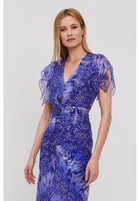 Nissa - NISSA - Sukienka. Kolor: fioletowy. Materiał: tkanina. Długość rękawa: krótki rękaw. Typ sukienki: rozkloszowane