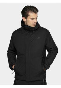 Czarna kurtka narciarska 4f na zimę, z kapturem