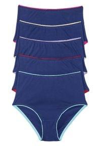 Figi z wysoką talią (5 par) bonprix niebiesko-kolorowy. Kolor: niebieski. Wzór: kolorowy