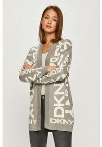 Szary sweter rozpinany DKNY długi, na co dzień, casualowy, z długim rękawem