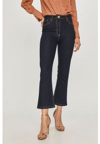 Niebieskie jeansy bootcut Elisabetta Franchi gładkie