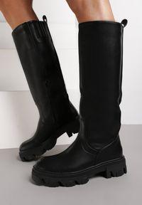 Renee - Czarne Kozaki Neso. Wysokość cholewki: przed kolano. Kolor: czarny. Materiał: skóra, guma. Szerokość cholewki: normalna. Obcas: na obcasie. Wysokość obcasa: średni