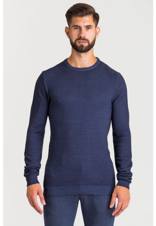 Niebieski sweter Joop! Collection z okrągłym kołnierzem, w kolorowe wzory