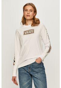 Biała bluzka z długim rękawem Vans casualowa, z nadrukiem, na co dzień