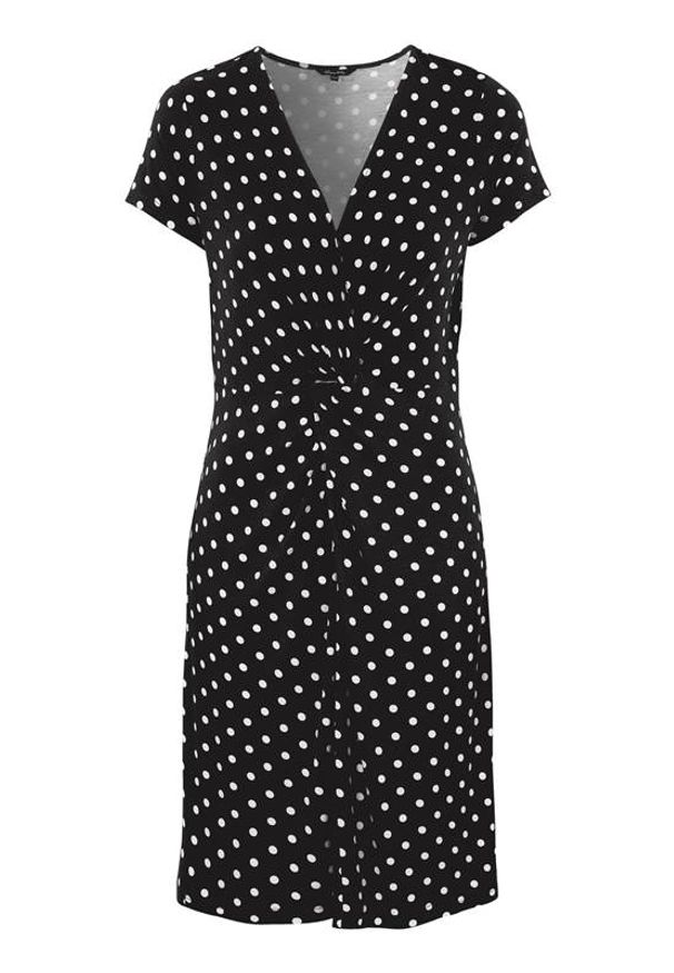 Czarna sukienka Happy Holly z dekoltem w serek, z krótkim rękawem, w kropki