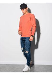 Ombre Clothing - Bluza męska bez kaptura B1153 - koralowa - XXL. Typ kołnierza: bez kaptura. Kolor: pomarańczowy. Materiał: poliester, bawełna