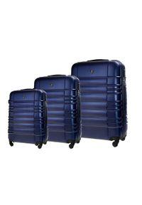 Solier - Zestaw walizek podróżnych STL838 granatowy. Kolor: niebieski. Materiał: materiał