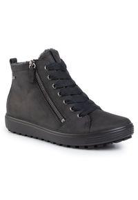 Czarne sneakersy ecco Gore-Tex, z cholewką, na płaskiej podeszwie