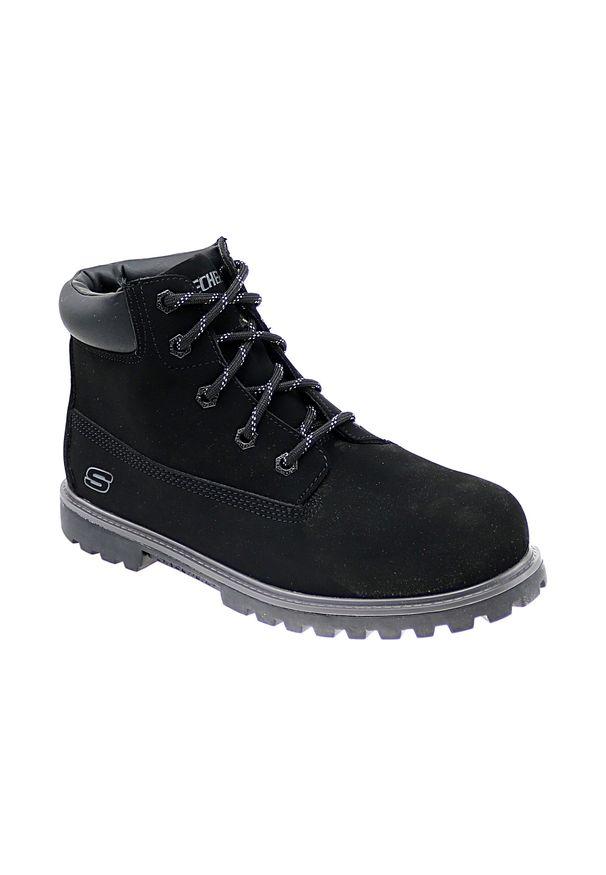 Czarne buty trekkingowe skechers na zimę, z cholewką, w kolorowe wzory