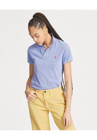 Ralph Lauren - RALPH LAUREN - Koszulka Classic Fit z logo. Typ kołnierza: polo. Kolor: niebieski. Materiał: bawełna, materiał. Wzór: haft, aplikacja