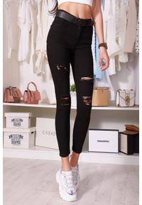 Czarne jeansy IVET na co dzień, w kolorowe wzory