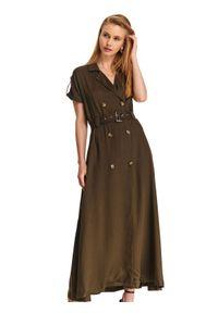 Zielona sukienka TOP SECRET na lato, z krótkim rękawem, maxi