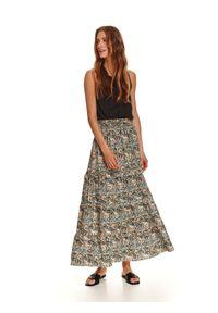 TOP SECRET - Długa spódnica z falbanami w print. Kolor: turkusowy. Materiał: dzianina. Długość: długie. Wzór: nadruk. Sezon: jesień