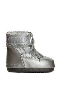Śniegowce Moon Boot na koturnie, glamour, z cholewką