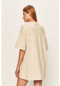 Beżowa sukienka Local Heroes mini, casualowa, oversize