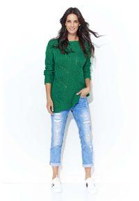Zielony sweter Makadamia z klasycznym kołnierzykiem, klasyczny