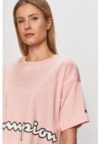 Różowa bluzka Champion z nadrukiem, na co dzień, casualowa