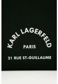 Czarna torba podróżna Karl Lagerfeld sportowa, z nadrukiem