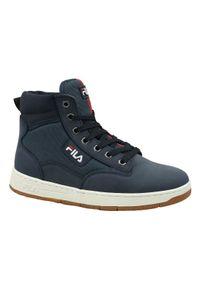 Niebieskie buty zimowe Fila z cholewką, na zimę, w kolorowe wzory