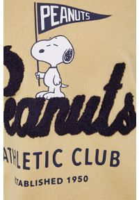 only - Only - Bluza X Peanuts. Kolor: beżowy. Materiał: bawełna, dzianina. Wzór: nadruk