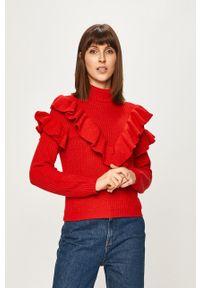 Czerwony sweter Glamorous z golfem, casualowy