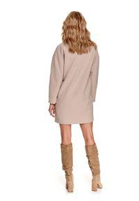 TOP SECRET - Płaszcz damski przed kolano. Kolor: beżowy. Materiał: tkanina. Długość: długie. Wzór: aplikacja. Sezon: wiosna. Styl: elegancki