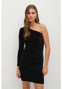 Czarna sukienka mango asymetryczna, na co dzień, mini, casualowa