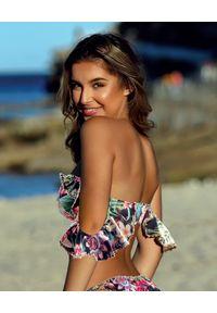 DEL MAAR - Top od bikini z wiązaniem Nayarit. Kolor: czarny. Materiał: jeans. Wzór: kwiaty, kolorowy