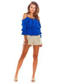 Awama - Niebieska Bluzka z Hiszpańskim Dekoltem z Rękawami 3/4. Kolor: niebieski. Materiał: poliester, elastan