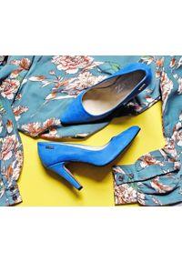Niebieskie czółenka Zapato do domu, w kolorowe wzory, na lato, eleganckie