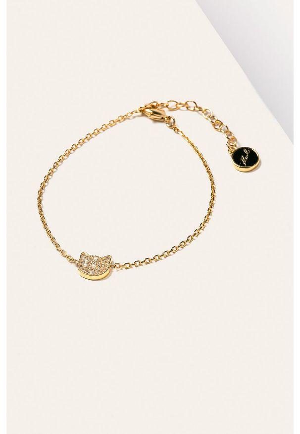 Złota bransoletka Karl Lagerfeld z aplikacjami, z kryształem