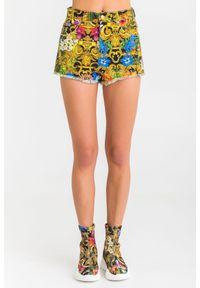 Szorty Versace Jeans Couture w kolorowe wzory, krótkie, na lato, z podwyższonym stanem