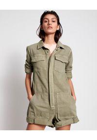 ONETEASPOON - Krótki kombinezon khaki Prophecy. Okazja: na co dzień. Kolor: zielony. Materiał: jeans. Długość rękawa: długi rękaw. Długość: krótkie. Wzór: moro. Styl: casual, militarny