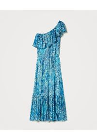 TwinSet - TWINSET - Niebieska maxi sukienka na jedno ramię. Okazja: na imprezę. Kolor: niebieski. Wzór: nadruk, kwiaty. Styl: wakacyjny. Długość: maxi