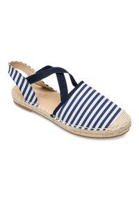 Niebieskie sandały SIXTH SENS w paski, bez zapięcia