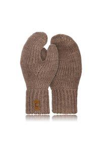 BRODRENE - Rękawiczki damskie zimowe r02 Brodrene R02 beżowe. Kolor: beżowy. Materiał: materiał. Sezon: zima